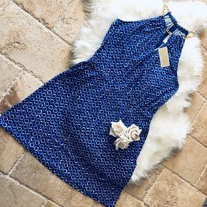 NWT MK Halter Blue & White Dress w/ Gold Hardware